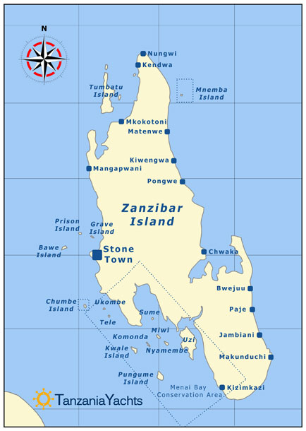 Maps Tanzania Islands Zanzibar Pemba Indian Ocean East Africa